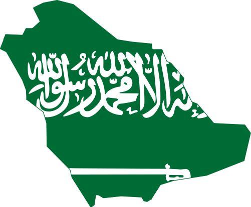 Flag map of Saudi Arabia