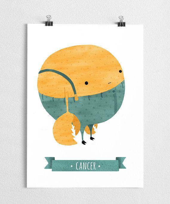 Zodiac art prints, horoscope art, zodiac poster, nursery wall art // Cancer