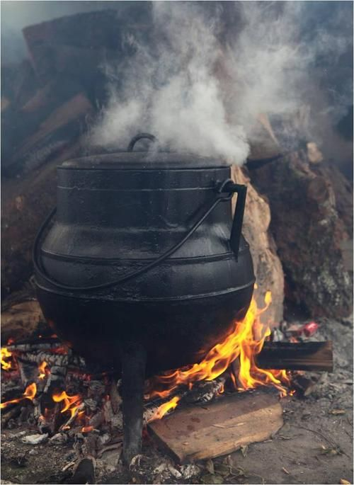 Speaking from experience, nothing tastes quite like a stew cooked over an open-fire in a cast iron pot. | steam rolls off the pot in wreathes | the flame licks at the bottom of the pot, blackening the iron | stooping down to blow at the fire smothered by the pot | the taste of smoke in the food as we eat |
