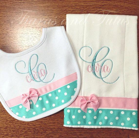 43 best elainestiarasntutus etsy shop baby items images on personalized baby gift burp cloth and bib set baby gift set negle Image collections