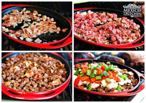 Tacos De Alambre Beef Bacon Cheese And Peppers Mexican Food Recipe Mexican Food Recipes Alambre Recipe Beef Recipes