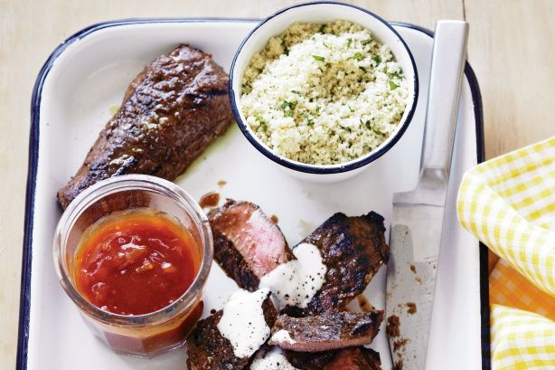 Marinated Lamb Backstraps With Yoghurt And Couscous Recipe Serve with hummus and tabouli salad