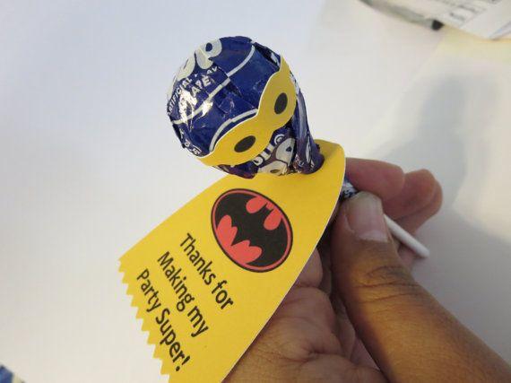 Batman/Batgirl superhero lollipops for birthday by Jaancreations