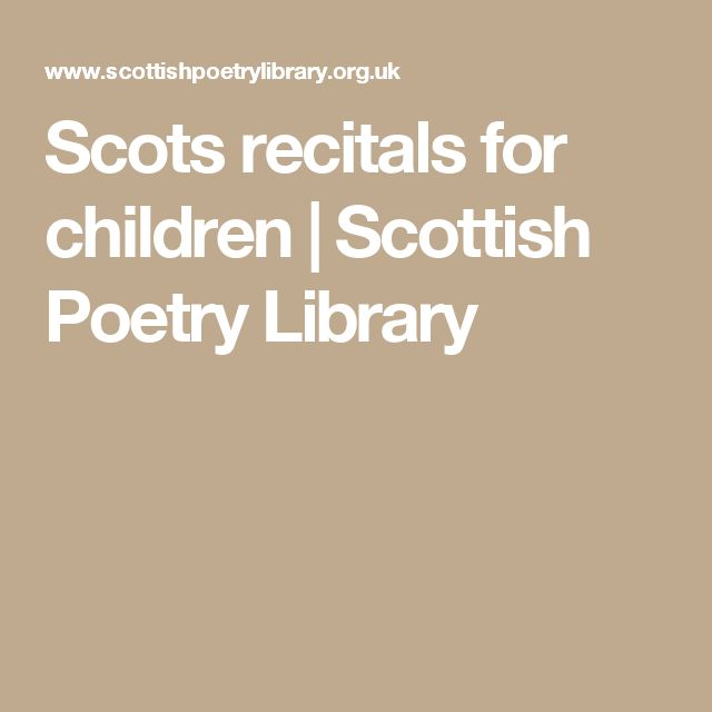 Scots recitals for children | Scottish Poetry Library