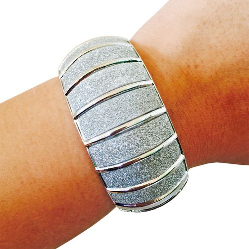 Activity Tracker Bracelet for FitBit Flex, Fitbit Charge, Charge HR, Misfit Shine, Misfit Flash, Garmin VivoFit, VivoSmart, Jawbone Move or Jawbone Up Fitness Trackers - The LITTLE PRINCESS Silver Glitter Hinge Bangle Bracelet FOR SMALL WRISTS