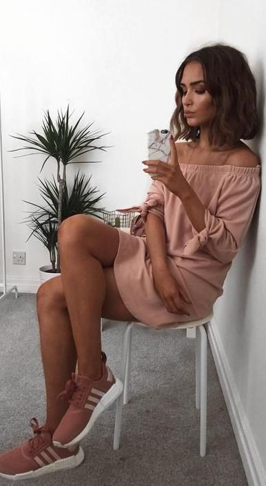 blush off shoulders dress + adidas trainers. sporty chic.