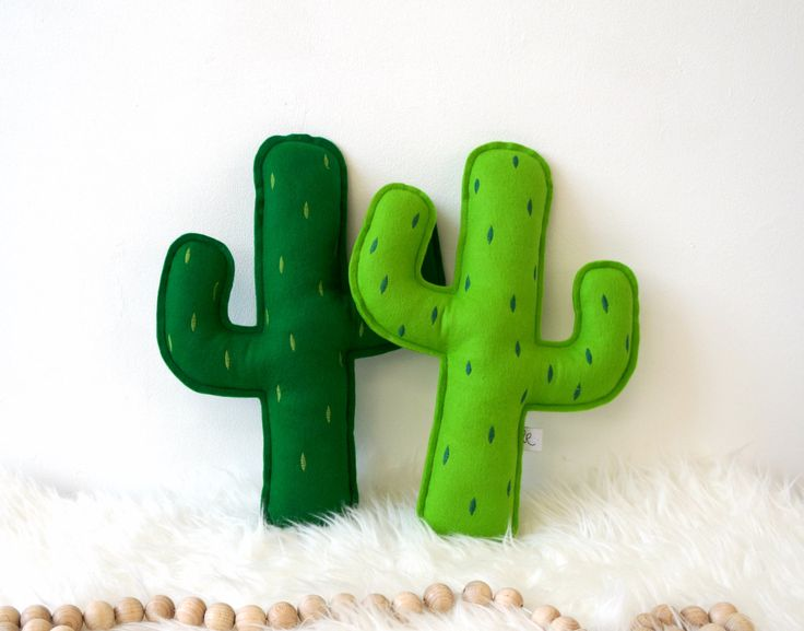 Cactus pillow with embroidered prickly points Greenery by LilyRazz