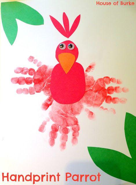 House of Burke: Handprint Parrot - Jo-Ann Cape Discovery Summer Craft Challenge