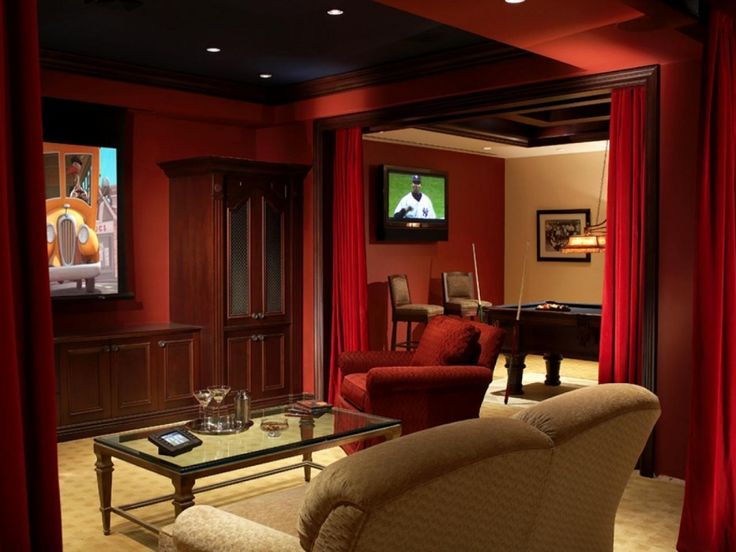 Comfy Small Media Room Ideas. Stylish Small Media Room Idea Feature Red Wall