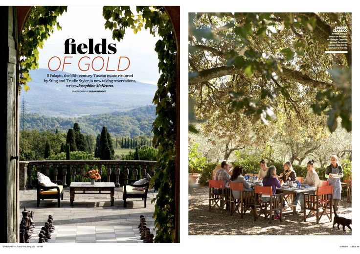 "Sting's Luxury Tuscan Villa.  ""Fields of Gold"". Full article http://josephinemckenna.net/portfolio/fields-of-gold/"