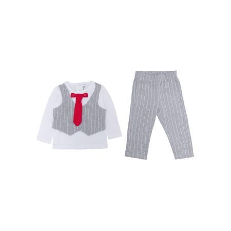 PlayToday Комплект: футболка с длинным рукавом и брюки для мальчика PlayToday  — 1469р.  Характеристики:  • Вид одежды: футболка с длинным рукавом и брюки • Предназначение: праздничная одежда, повседневная одежда • Пол: для мальчика • Сезон: круглый год • Материал: хлопок – 95%, эластан – 5% • Цвет: белый, серый, красный • Рукав: длинный • Длина штанишек: длинные • Вырез горловины: круглый • Особенности ухода: ручная стирка без применения отбеливающих средств, глажение при низкой температуре…