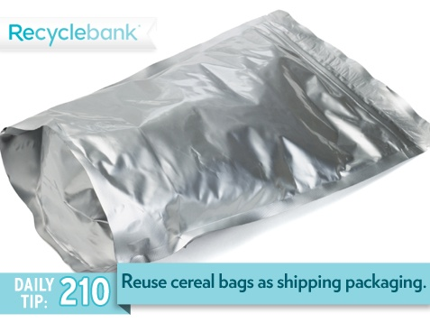 Reuse your cereal bags as shipping packaging by filling them with air and taping them shut.