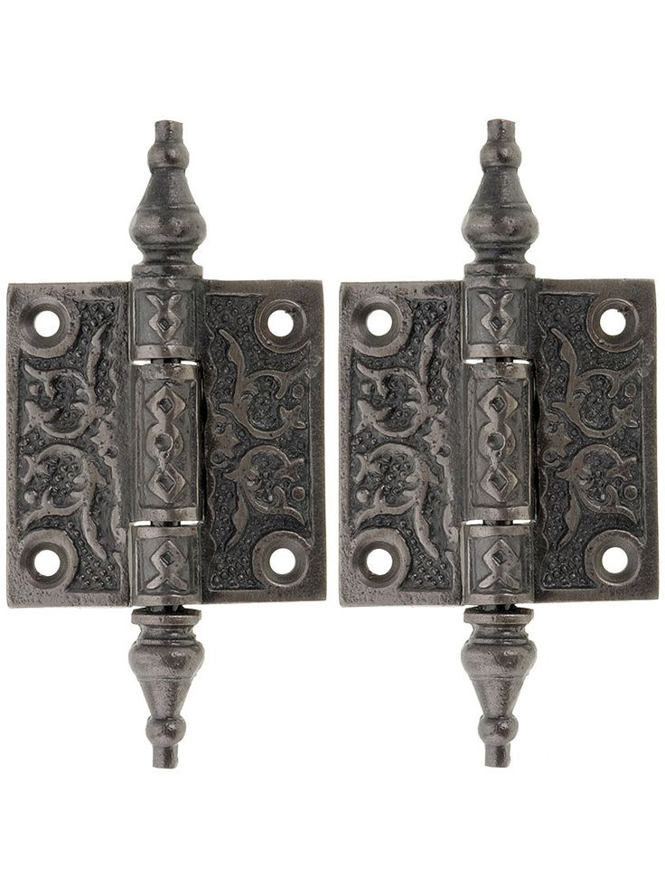 Surface Hinges. Pair of Decorative Cast Iron Cabinet Hinges - 2