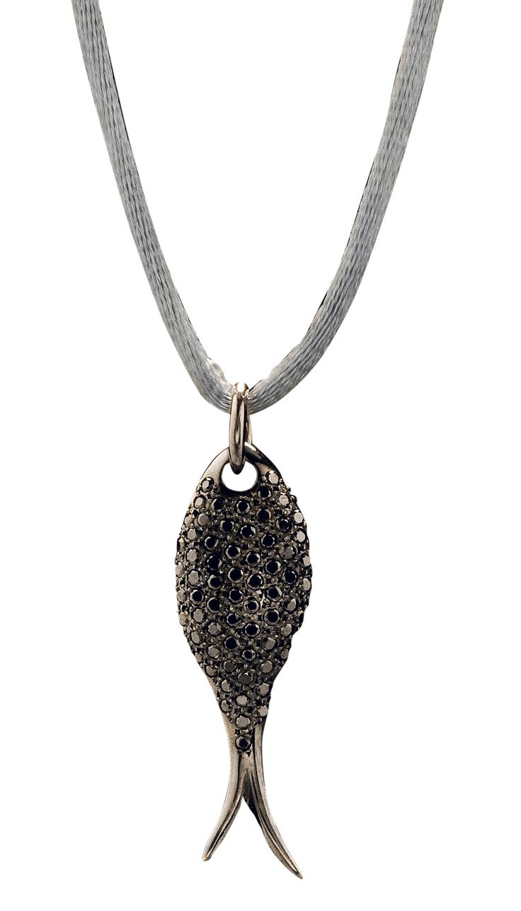 #huffyjewels #pisces #fish #pendant in K18  #black #plated #gold with #black #diamonds www.huffyjewels.com