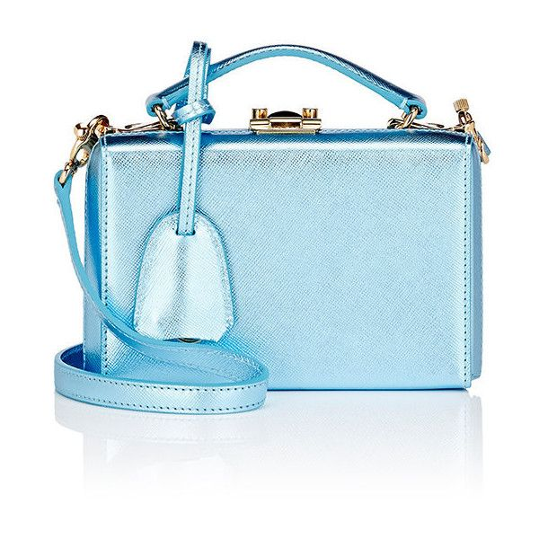 Mark Cross Women's Grace Mini-Box (11356985 PYG) ❤ liked on Polyvore featuring bags, handbags, shoulder bags, blue, mark cross purse, chain handle handbags, chain strap purse, mini purse and chain strap handbags