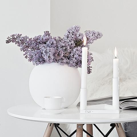 Add to your beautiful scandi decor with this Pipeline Candle Holder in White by Nur - Made Modern