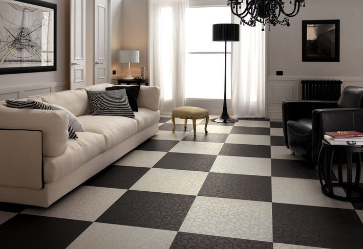 Interior Design, Abstract Painting Black White Living Room Checkered Floor Tiles Chandelier Sofa Standing Lamp Table Lamp Cushion Curtain Armchair Coffee Table Cream Ottoman Wooden Door Doorknob Wall And Glass Window ~ Wonderful Ceramic Interior On The Floor Design