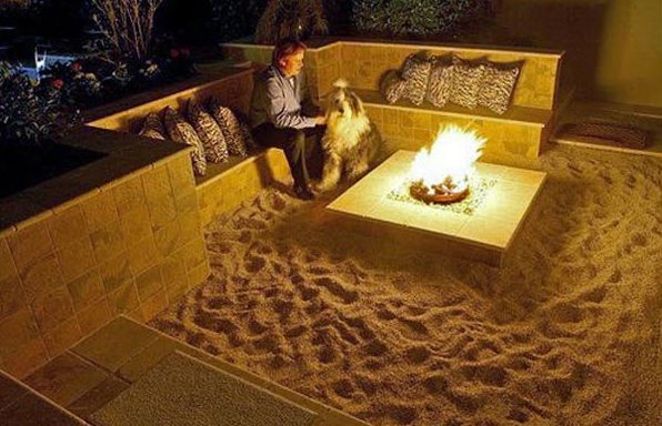 Fantastic idea. Bring an evening beach bonfire to your back yard space. Brilliant!