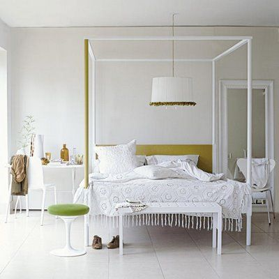 Lampshade above bed