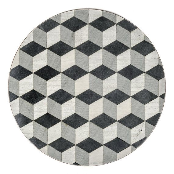 4 Place Mats Black Grey Geometric Tumbling Cube Design gives Retro look
