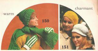Vintage+knitting+free+patterns,+gratis+breipatronen+onder+andere+jaren+70+patronen:+Muts+haken+patroon+gehaakte+muts