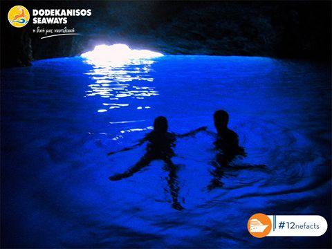 Το φως του ήλιου αντανακλάται στον πυθμένα της Γαλάζιας Σπηλιάς, χρωματίζοντάς τη με το μοναδικό μπλε του Αιγαίου Πελάγους. Το πιο όμορφο σπήλαιο της Μεσογείου βρίσκεται στο Καστελόριζο.#12neFact  The sunlight that is reflected in The Blue Cave's bed, paints it with unique Aegean blue. The most beautiful cave of the Mediterranean Sea is set in Kastelorizo. .#12neFact