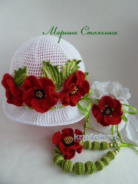 Вязаная панамка с маками - работа Марины Стоякиной вязание и схемы вязания