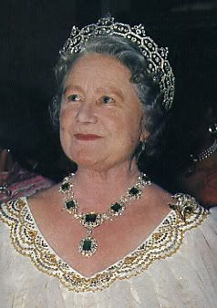 Queen Elizabeth the Queen Mother wearing the Boucheron honeycomb tiara, the Greville emerald and diamond necklace and earrings (Field argues that the emeralds included in this necklace originally belonged to Queen Marie-Antoinette).