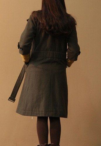 Army+green++Winter+coat++Long+wool+coat++Cap+by+prettyforest22,+$89.00