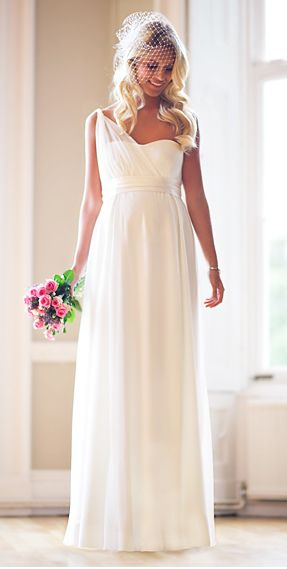 This cream-colored Heidi maternity wedding dress ($950) has a vintage, classic charm.