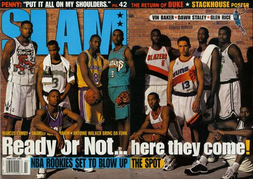 The full spread - 1997 NBA Rookie Class: Marcus Camby, Stephon Marbury, Ray Allen, Kobe, Shareef, Kerry Kittles, Jermaine O'Neal, Steve Nash, John Wallace and Walter McCarty