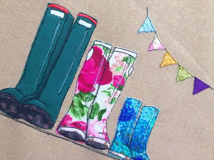 Family of three wellies with a bunting string, freehand machine embroidery appliqué and paint