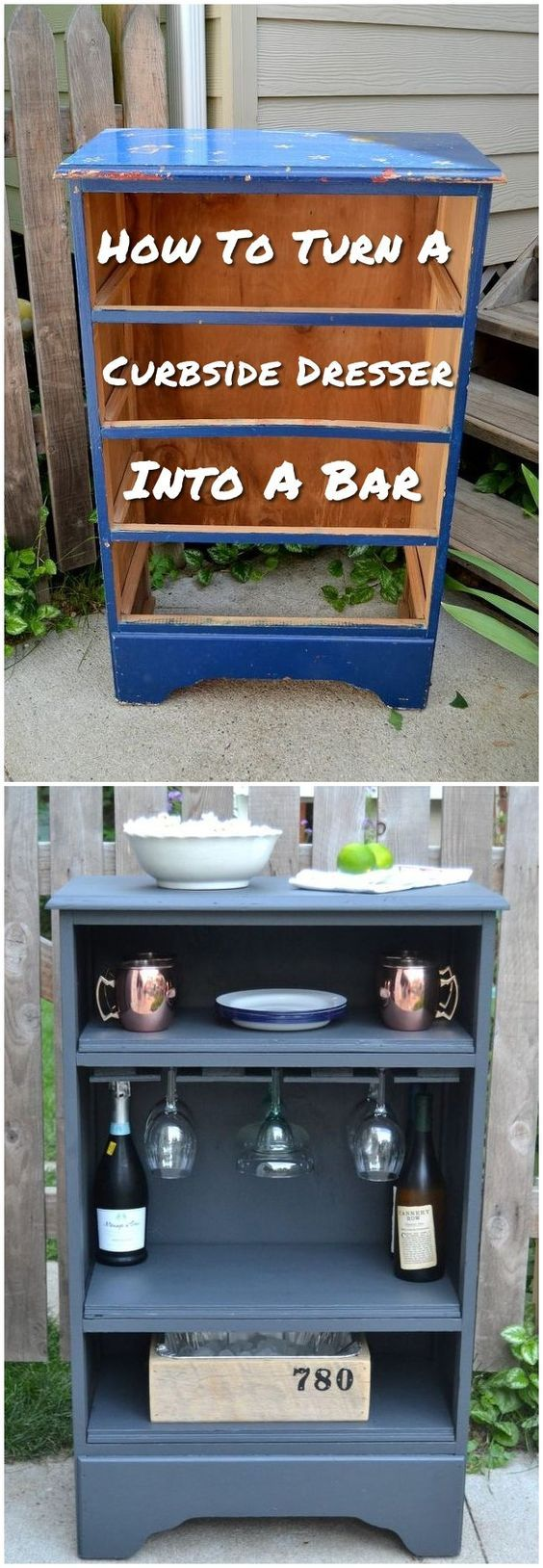 Turn a curbside dresser into a bar! Click on image to see more DIY home decor crafts.