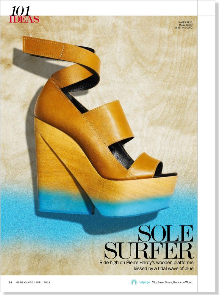 Sole Surfer. Clipped from the print page of Marie Claire using Netpage.