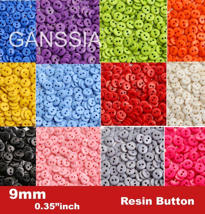 100 개/몫 9 미리메터 사탕 색상 패션 수지 공예 대량 버튼 재봉 액세서리 (SS-673)