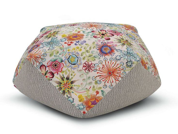 Upholstered fabric pouf with removable lining DIAMANTE by Missoni Home