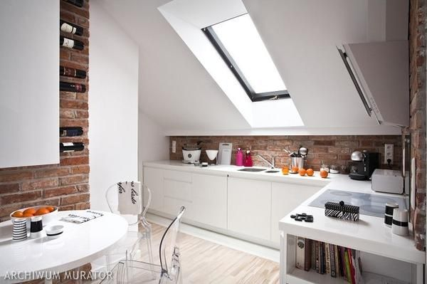 attic kitchen - skylight