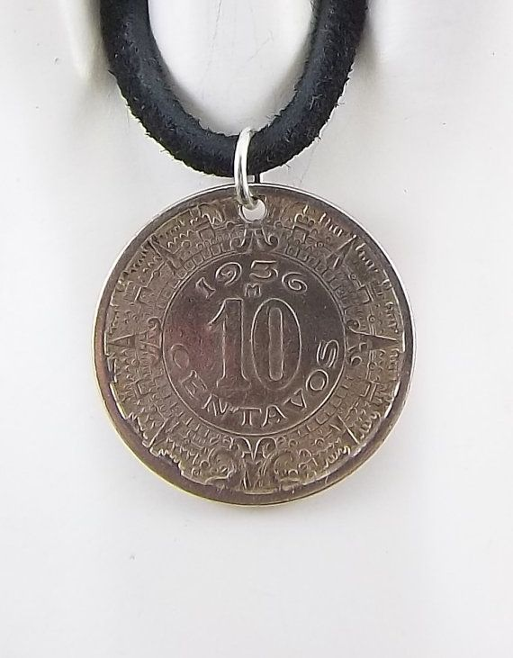 1936 Mexican Coin Necklace Aztec 10 Centavos by AutumnWindsJewelry