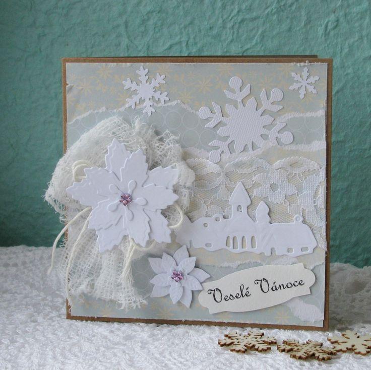 Kouzlo štědrovečerní - vánoční přání Přání je vytvořeno z kvalitních scrapbookových papírů, krajky, papírových motivů a kamínků. Součástí je eco obálka.