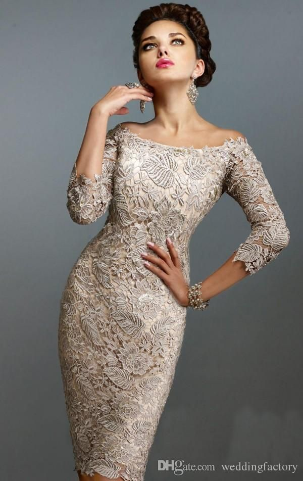 88823138707 2015 Gorgeous Mother of the Groom Dresses Sheath Off the Shoulder 3 4 Long  Sleeves Knee Length Short Wedding Party Guest Gowns Custom