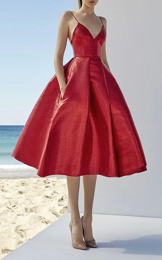 Rot Elegant Elfenbein Satins Sparhetti A-Linie Lange Ballkleider, Abendkleider