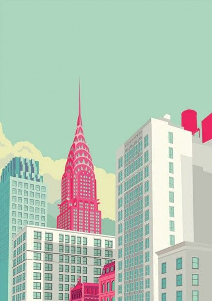 Love these NY illustrations by Remko Heemskerk: Remko Heemskerk did these illustrations while living in New York. Long shadows and bright colours make them vivid and interesting.