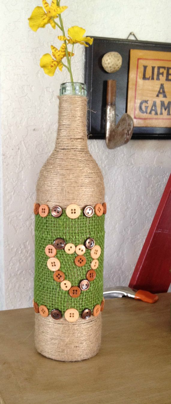 Yarn String Wrapped Bottle with Buttons Yarn Bottle Button Bottle Heart