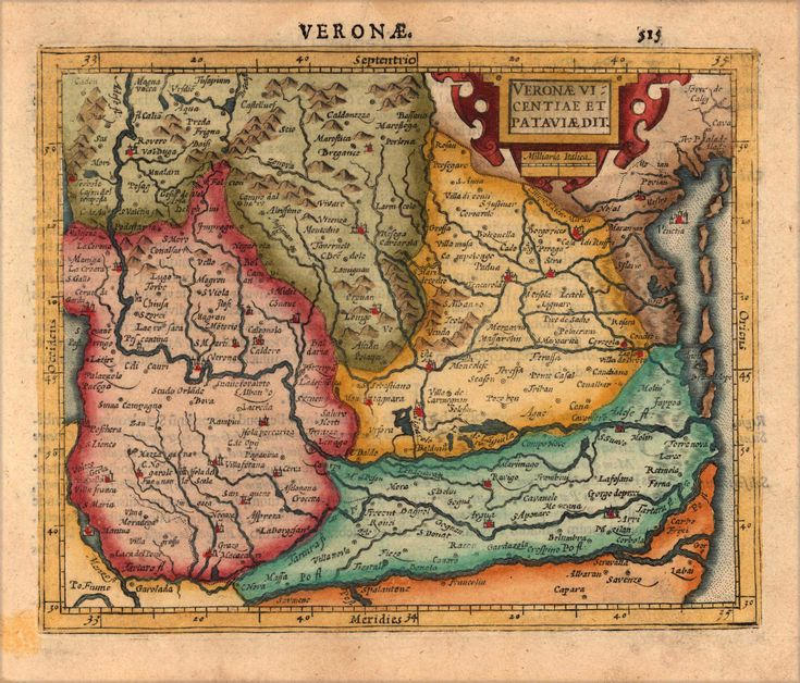 decorative map of the region of verona and patavia in northern italy published in gerard mercators