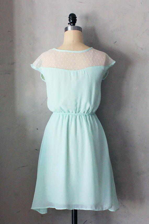 PETIT DEJEUNER in Spearmint Mint chiffon dress by FleetCollection, $48.00