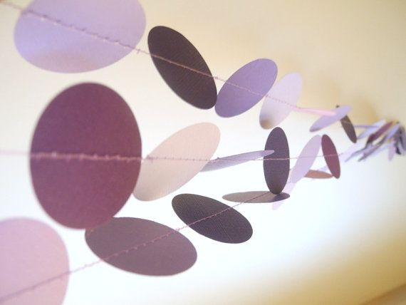 Purple circles paper garland lilac baby shower by HoopsyDaisies, $11.00