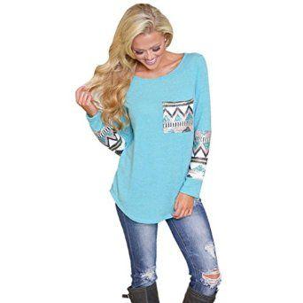 ABC® HOT!Fashion Ladies Pocket Sequins Splice Long Sleeve T Shirt