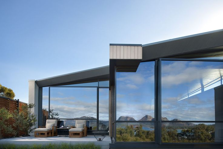 The exterior of the Saffire Freycinet luxury hotel in Tasmania, Australia. An award-winning commitment to fine design has led to one of Australia's most impressive pieces of architecture to be sited in the remote beauty of Tasmania. The result is an all-inclusive joy where fine dining is complemented by a comprehensive range of activities.
