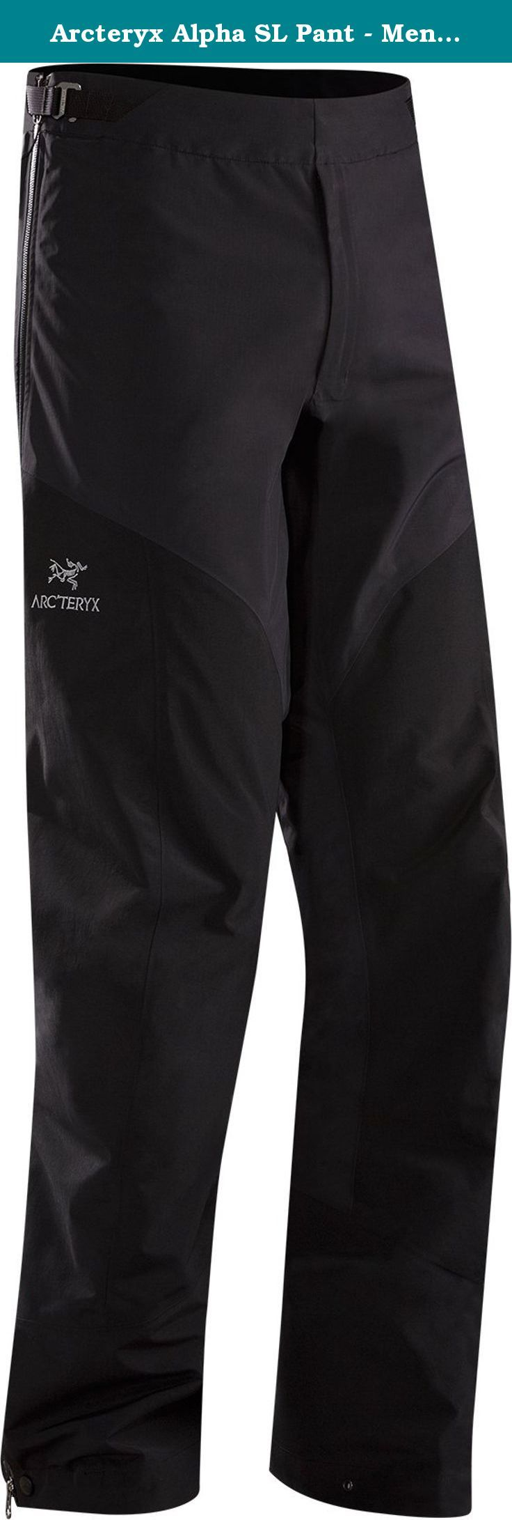 Arcteryx Alpha SL Pant - Men's Black Large Tall. FEATURES of the Arcteryx Men's Alpha SL Pant N40R face fabric laminated to Gore-Tex fabric with Paclite product technology delivers ultralight, packable weather protection N150P-X face fabric laminated to Gore-Tex fabric with Paclite technology reinforcements in high wear areas Full length side zips for easy entry and rapid ventilation Dual low profile waist adjusters fit under harness or pack waist belt Trim leg fit reduces crampon snags...
