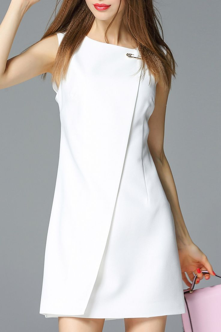 OSERJEP Pin Design Pure Color Dress
